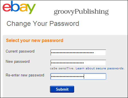 eBay change password account settings personal info password 2