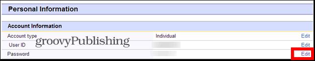 eBay change password account settings personal info password