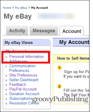 eBay change password account settings personal info