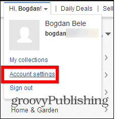 eBay change password account settings