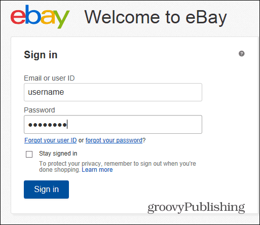 eBay change password login