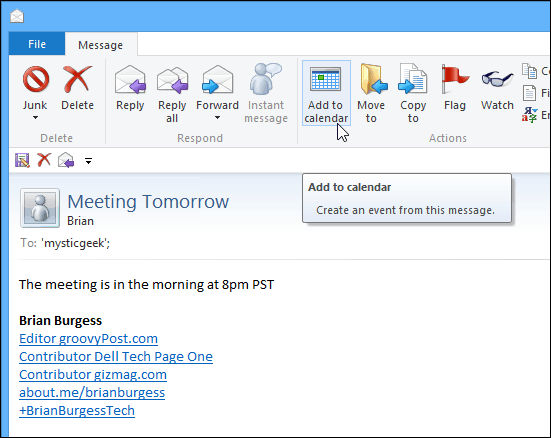 Add to Calendar email