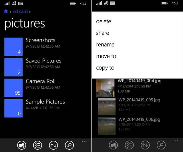 Files app Windows Phone 8-1