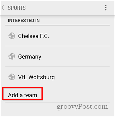 Google Now add team