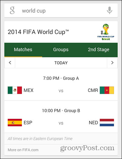 Google Now games of the day