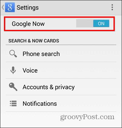 Turn Off Google Now