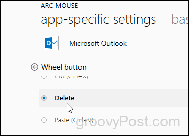 set wheel button to delete