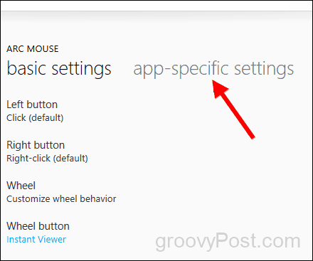 create app specific setting for microsoft mouse