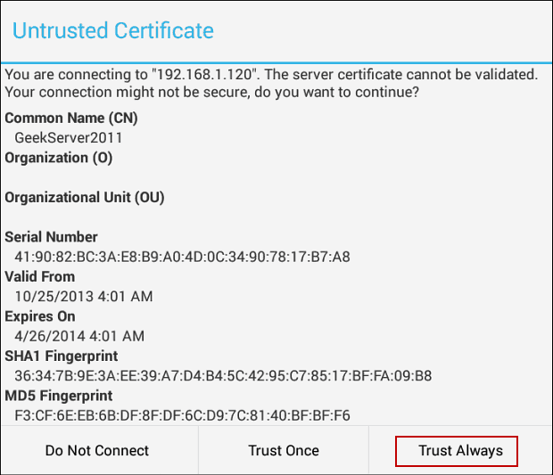 untrusted certificate