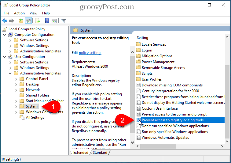 Prevent access to registry editing setting