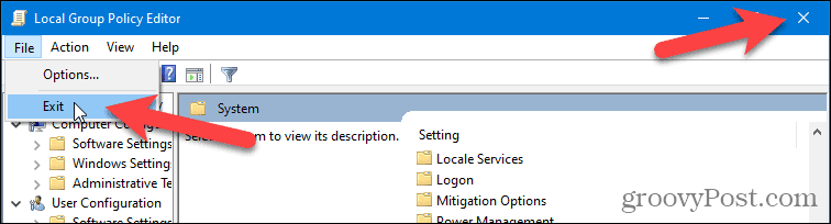 Close Local Group Policy Editor