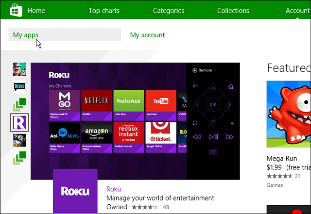 My apps Windows 8 Account