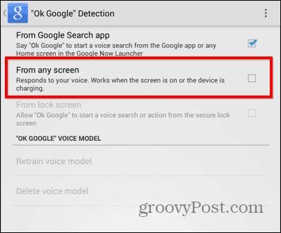 OK Google everywhere settings voice start