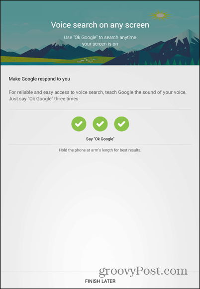 OK Google everywhere settings voice train