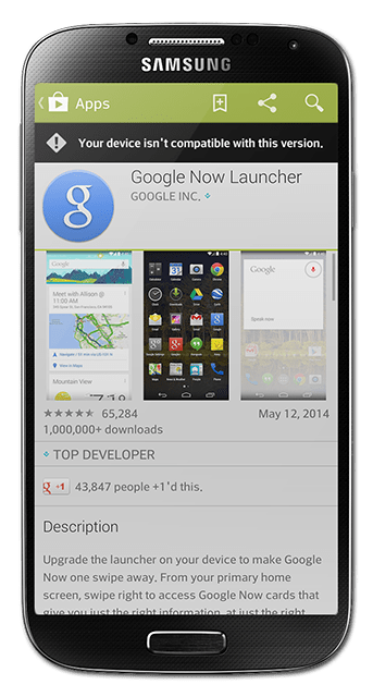 google now launcher non nexus device compatible incompatibility google play store error device download app launcher customize android
