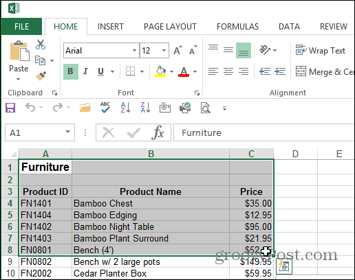 Select Area Excel Document