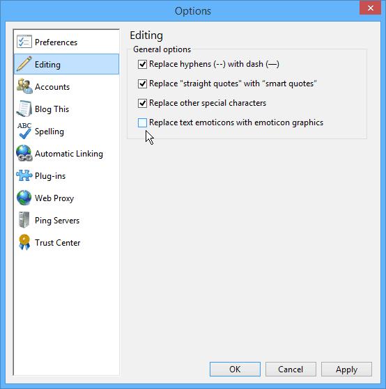 Windows Live Writer Editing