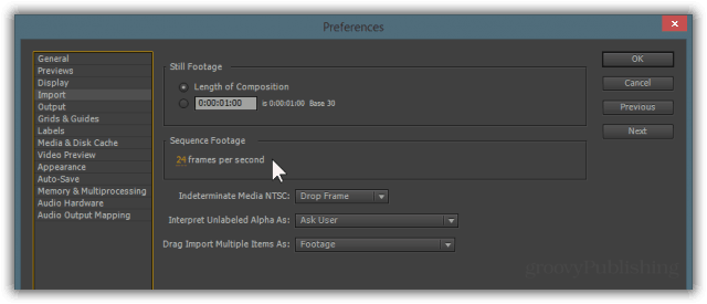 framerate frame rate time lapse timelapse after effects sequence JPEG files FPS
