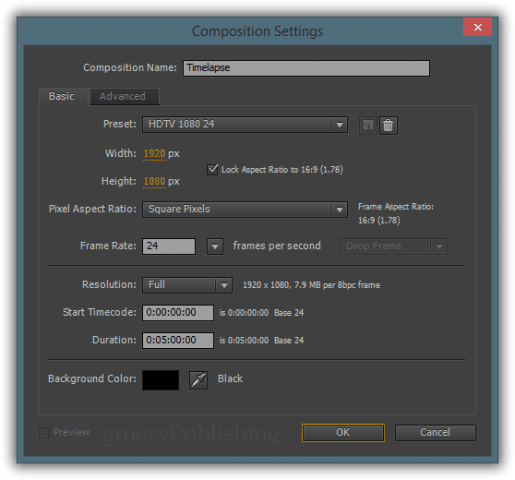 """Pick a framerate identical to the one you configured in """"Import Preferences"""" and choose the length of your comp. Don't worry - if you're not sure how long your timelapse will turn out, just put in something like 5 or 10 minutes - you can always edit this value later on."""