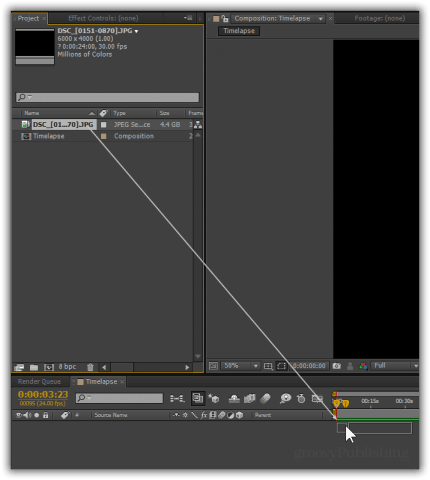 Drag your JPEG Sequence to the Timeline.
