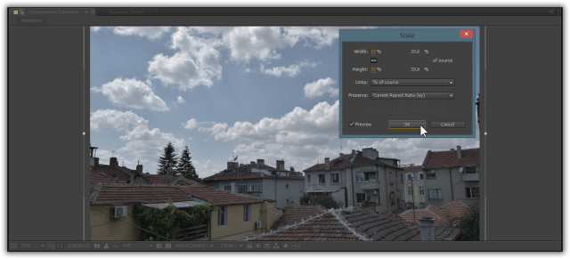 Use Right Click > Transform > Scale to make larger images fit the 1080p resolution.