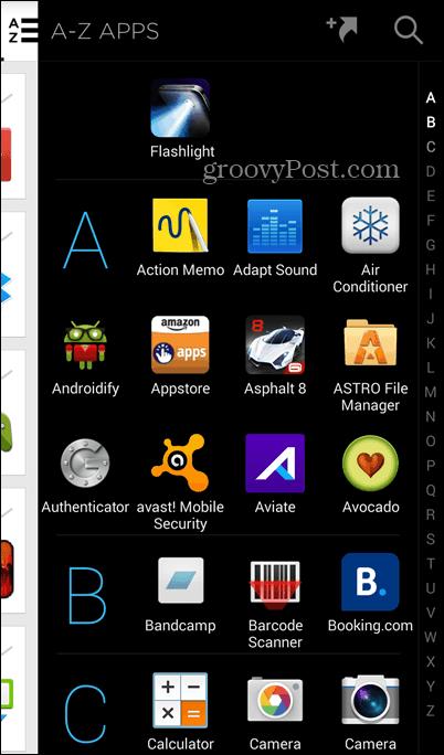 Aviate full app list