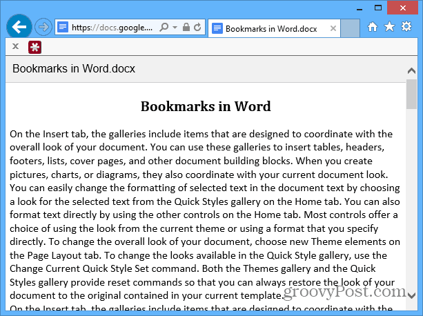 Document as web page