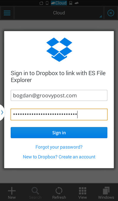 ES File Explorer login Dropbox