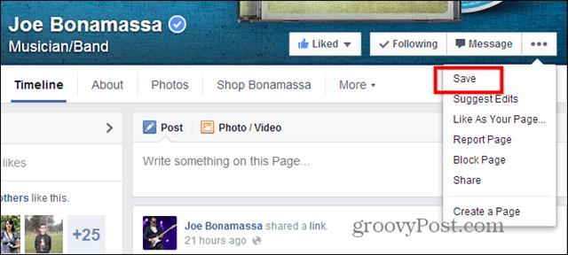 Facebook Save desktop page