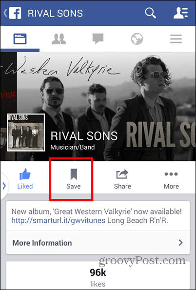 Facebook Save mobile page