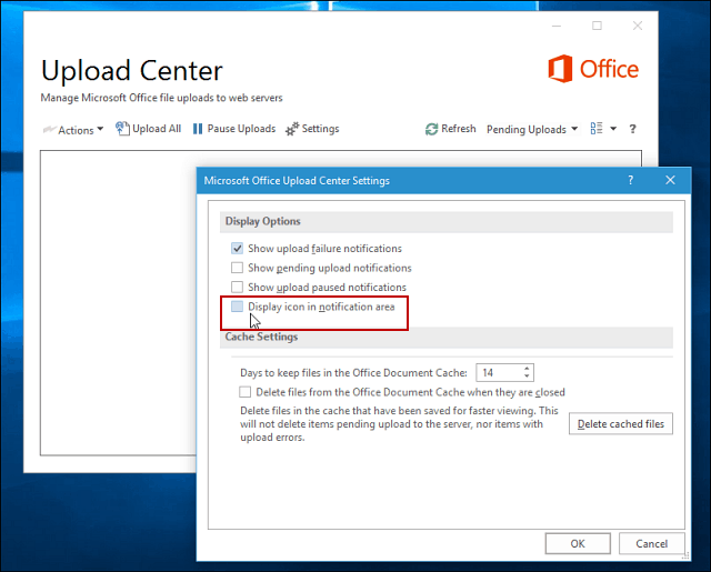 Microsoft Office Upload Center Display Options