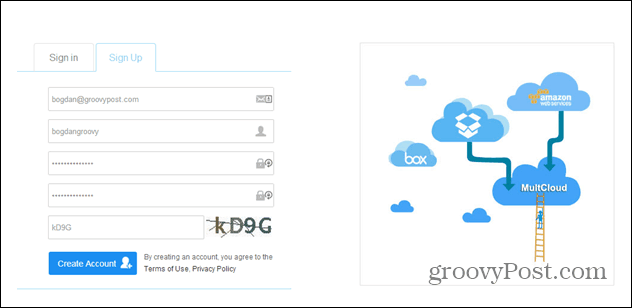 MultCloud sign up form