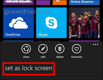Windows Phone 8.1 screenshot lock set