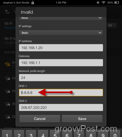 Change Kindle Fire WIFI DNS and IP Settings - Set DNS IP
