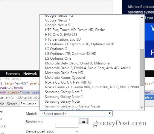 Chrome developer tools emulation sensors device select