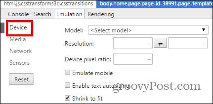 Chrome developer tools emulation sensors device