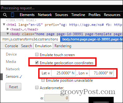 Chrome developer tools emulation sensors lat long