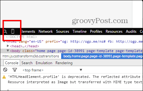 Chrome developer tools emulation