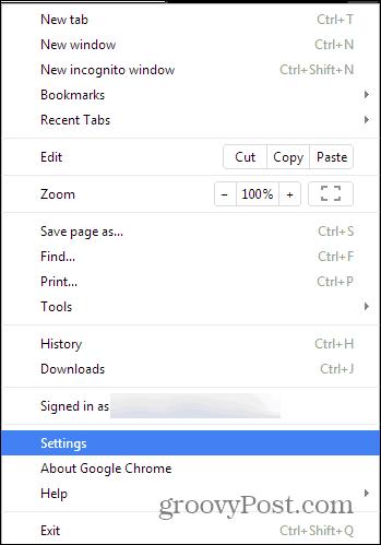 Chrome search settings