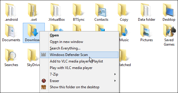 Context Menu with Windows Defender