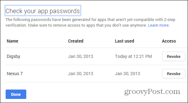 Google Security wizard app passwords