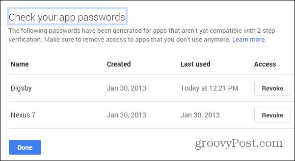 Google Security wizard app passwords