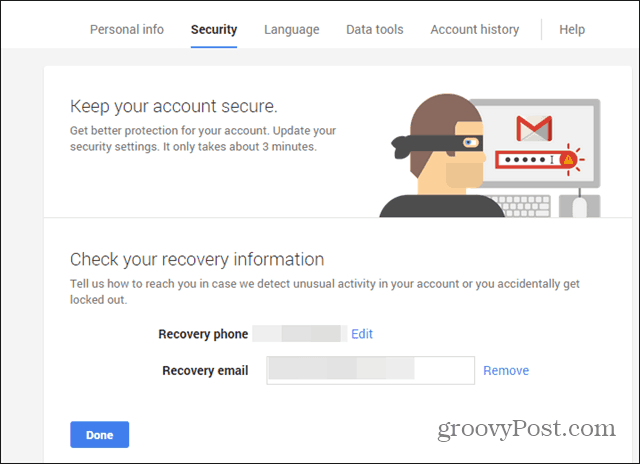 Google Security wizard phone email check