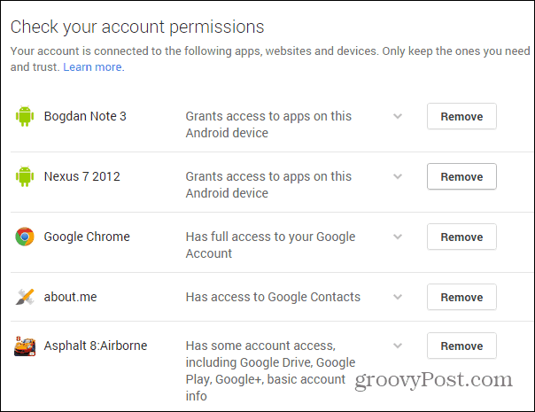 Google Security wizard permissions