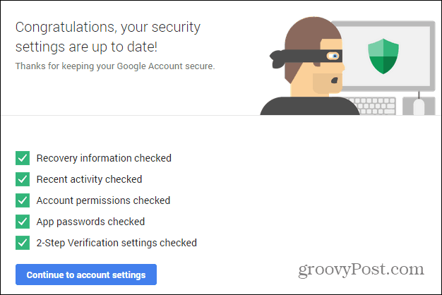 Google Security wizard success