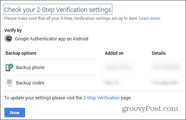 Google Security wizard two-factor