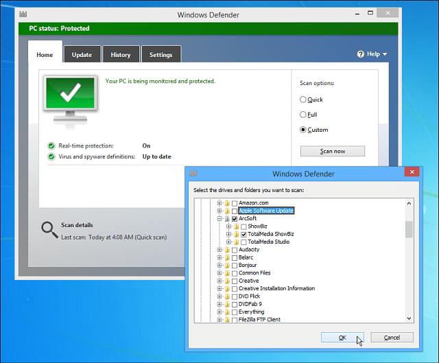 Windows Defender Custom Scan