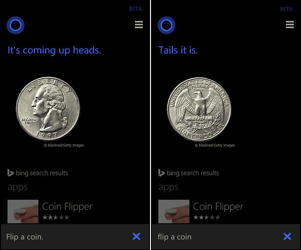 Cortana Flip a Coin