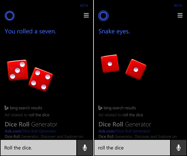Cortana Roll Dice
