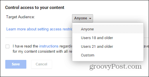 Google+ posts restriction settings audience 18